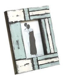 White and Blue Matte contour Wooden Picture Frame shop online