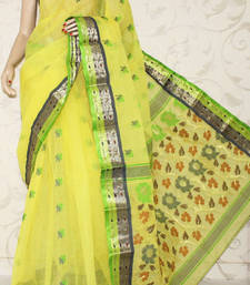 Buy Bengal Handloom Tant Cotton Party Wear Saree without Blouse cotton-saree online