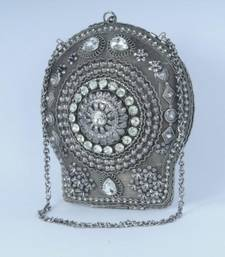 Silver Oxydized Party Clutch shop online