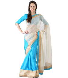 Buy Cream and blue jute net banarasi designer full saree with blouse jute-saree online