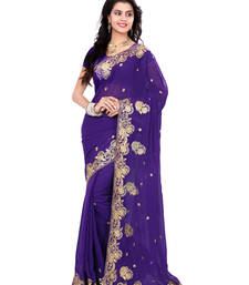 Buy Purple Color Faux Georgette Saree With Blouse party-wear-saree online