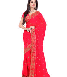 Buy Carrot Pink Color Faux Georgette Saree With Blouse party-wear-saree online