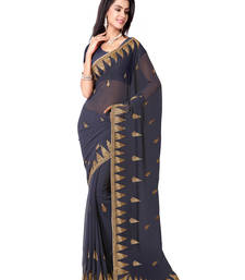 Buy Grey Color Faux Georgette Saree With Blouse party-wear-saree online
