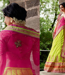 Buy Light Green Pink Brocade Net Lengha Saree bridal-saree online