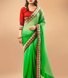 Buy Green Chiffon Saree Comprising Border work with Dupioni Blouse Piece chiffon-saree online