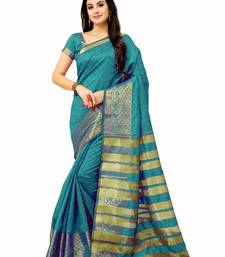 Buy Teal woven manipuri silk saree with blouse manipuri-silk-saree online