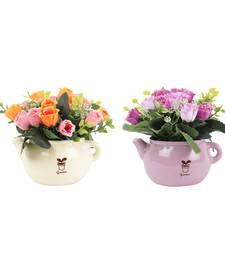 Buy Set of Multicolor Artificial Rose Plant with Pot flower online