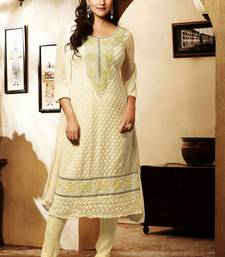 Buy Beautiful Cream Georgette Dressmaterial dress-material online
