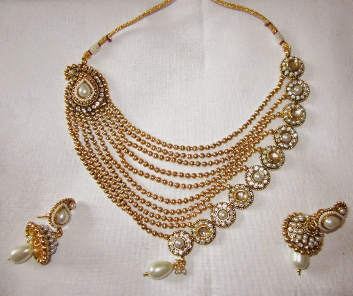 String Pearl Necklace: Buy GOLD MULTI STRING DESIGNER PEARL NECKLACE PAISLEY