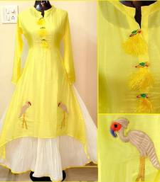 Buy Yellow hand woven chanderi stitched kurti kurtas-and-kurtis online