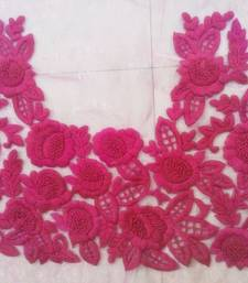 Buy Heavy hand-embroidered un-stitched pink net material blouse blouse-fabric online