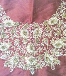 Buy Heavy hand-embroidered un-stitched maroon dupion silk material blouse bridal-blouse online