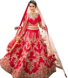 Buy Red embroidered dupion silk unstitched lehenga bridal-lehenga online