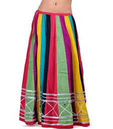 Buy Jaipuri multicolor Color Pure Cotton Lehanga Skirt navratri-skirt online