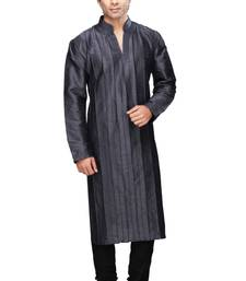 Buy Blue self design silk blend plain kurta pyjama kurta-pajama online