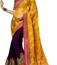 Buy Beige embroidered georgette saree with blouse bollywood-saree online