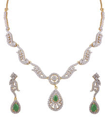 Buy Heena Contemporary collection Glossy Green Stone Necklace set >> HJNL163G << party-jewellery online