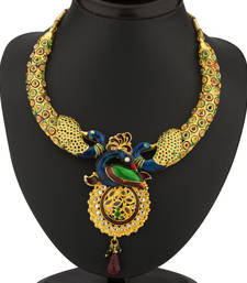 Buy Delightful Gold Plated Australian Diamond Peacock Necklace Set necklace-set online