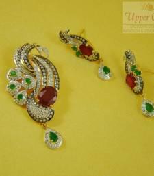 Buy Ruby Panna Zircon Pendent Earring Jewellery Pendant online