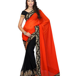 Buy Black & Orange Colored Faux_Georgette Chiffon Plain Saree With Blouse chiffon-saree online