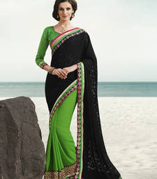 Buy Black Jacquard Half and Half Saree party-wear-saree online