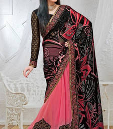 Buy Pink With Black Patch Work Viscose Chiffon Designer Saree With Blouse chiffon-saree online