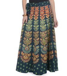Buy Green Cotton Printed Wrap Around Long Skirt skirt online