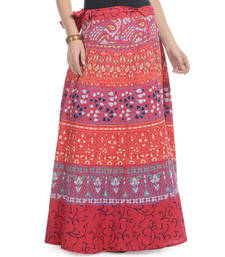 Buy Red Cotton Printed Wrap Around Long Skirt skirt online