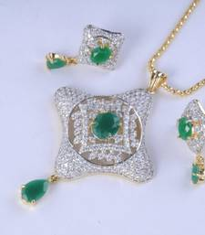 Gold Plated Diamond Pendant Set shop online