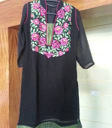 Buy Black georgette kurti kurtas-and-kurti online