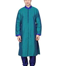 Buy Pakistani sherwani Front open blue kurta with gundi button and contrast collar kurta-pajama online