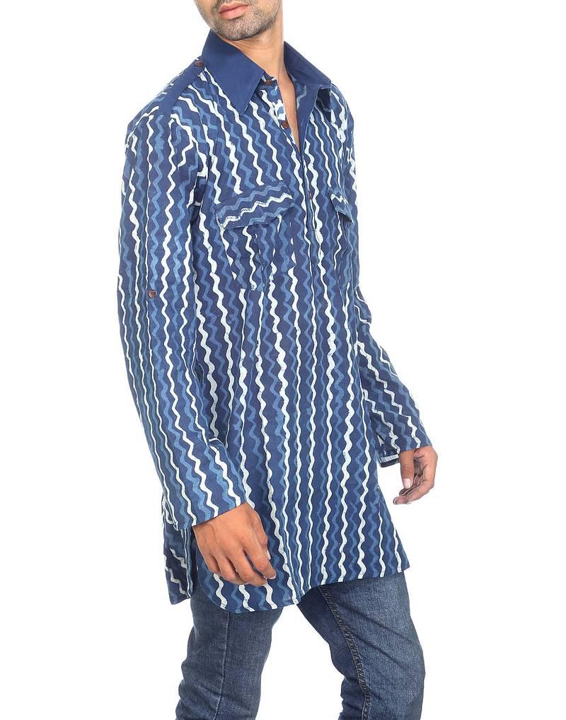 buy indigo hand block printed cotton long kurta online. Black Bedroom Furniture Sets. Home Design Ideas