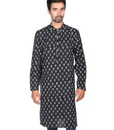 Buy Black Hand Block Printed Cotton Long Kurta gifts-for-husband online