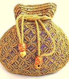 Buy Beaded Drawstring Potli/Batwa- Purple potli-bag online