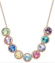 Buy Multi color austrian rhinestone crystal pendant short necklace Necklace online