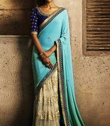 Buy firozi and chiku georgette and net half model saree with blouse bridal-saree online