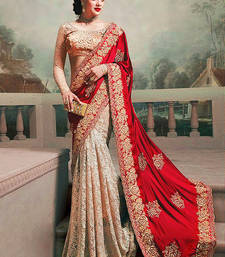 red and chiku silk georgette and rassal net m n designer bollywood saree with blouse shop online