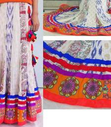 Buy Multi color patchwork cotton flared skirt with patchwork doll and circle borders skirt online