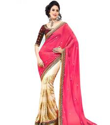 Buy CREAM PEACH embroidered GEORGETTE saree wedding-saree online
