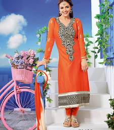 Buy Orange embroidered cotton-silk semi-stitched salwar with dupatta indian-dress online