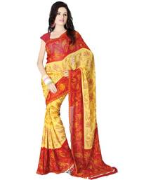 Buy Yellow Red Printed Saree printed-saree online