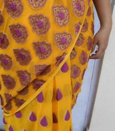 Buy Mango n Blueberry Blast georgette-saree online