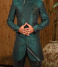 Buy Green satin indowestern suit indo-western-dress online
