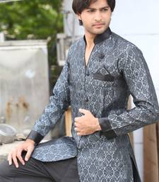 Buy Modern grey brocade indowestern suit indo-western-dress online