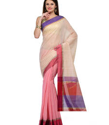 Buy Pink and White checkred cotton saree Half & Half with blouse cotton-saree online