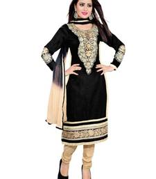 Buy BLACK embroidered cotton unstitched salwar dress-material online