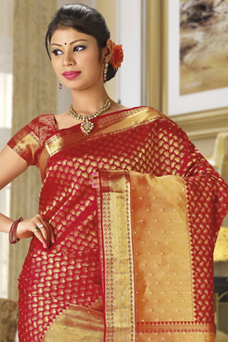 Buy Red Kanchipuram Sarees Bridal Traditional Silk Saree