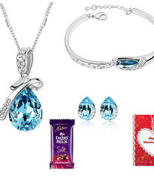 Buy Valentine Special WaterDroplet Necklace Bracelet Set with Valentine card and chocolate valentine-gift online