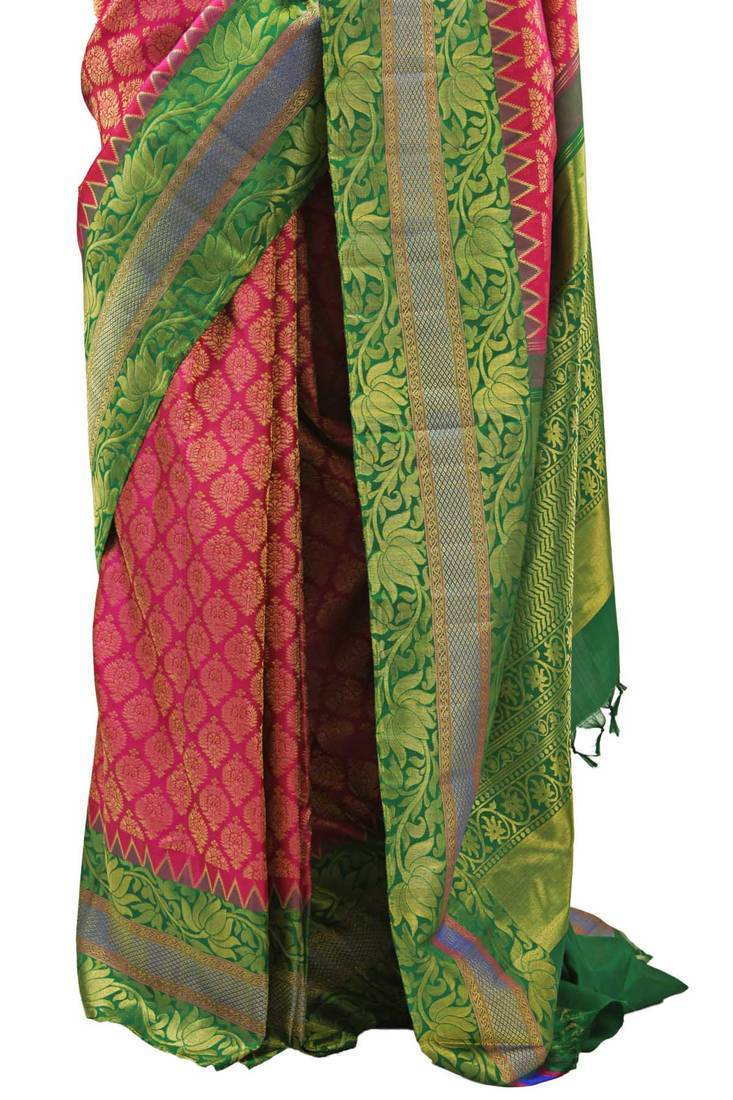 Buy Pink Pure Kanchipuram Real Silver Zari Saree With