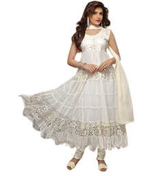 Buy White Embroidered Work net semi-stitched salwar with dupatta s4003 party-wear-salwar-kameez online